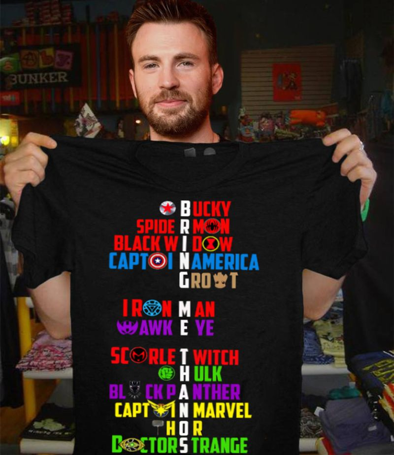 Bring Me Thanos Ucky Spide Mon Black Widow Captoi America Rout Iron Man Awk Eye  T-shirt Black A4