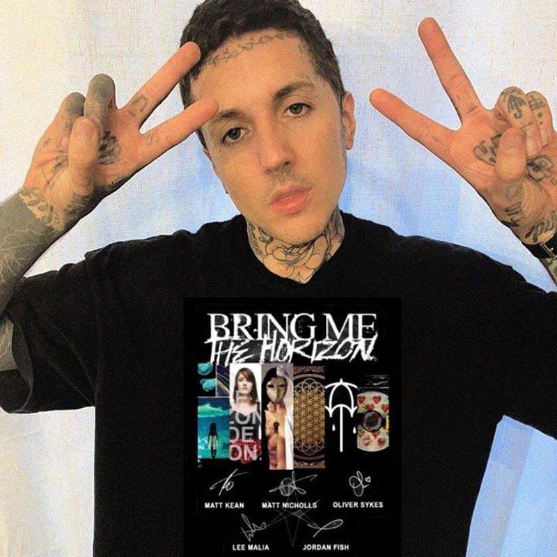 Bring Me The Horizon Music Band T-Shirt Bring Me The Horizon Songs Signatures Black T Shirt Men And Women S-6XL Cotton
