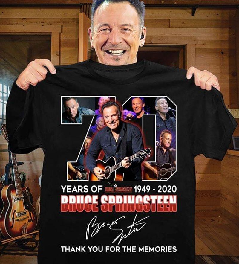 Bruce Springsteen 70th Anniversary Signature Thank Memories Black T Shirt Men And Women S-6XL Cotton