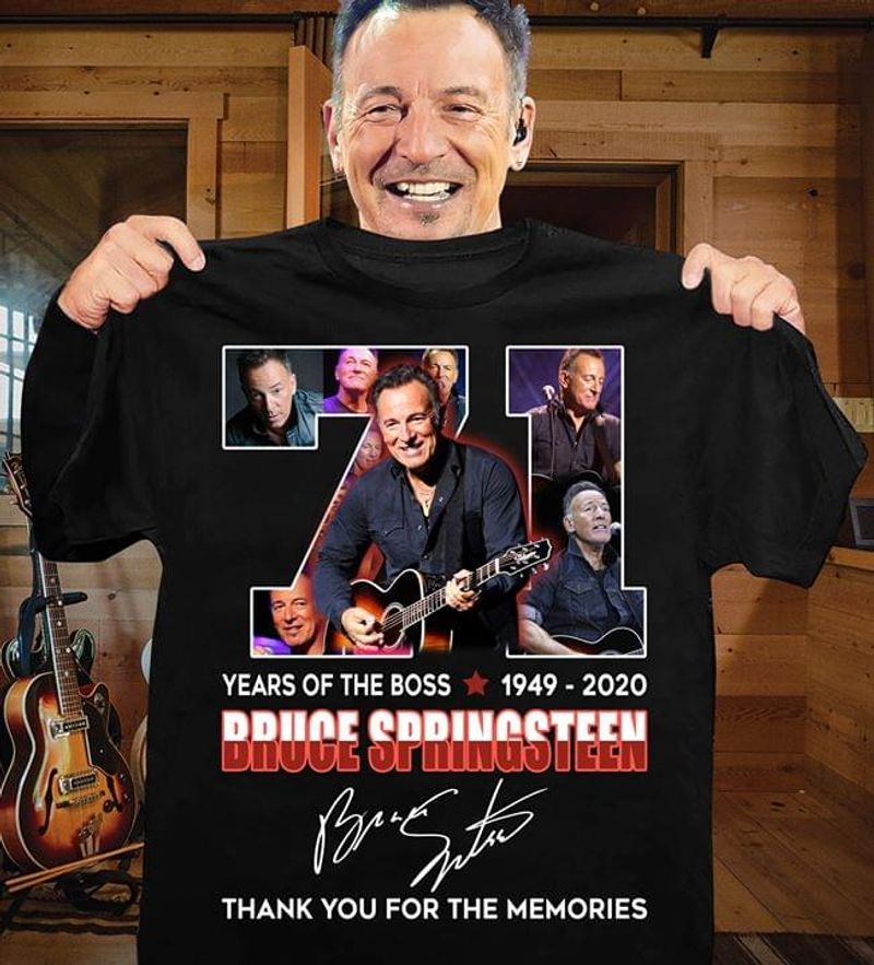 Bruce Springsteen Fans 71 Years Og The Boss Thank You For The Memories Signature Black T Shirt Men And Women S-6XL Cotton