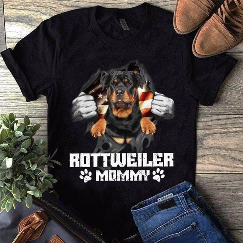 Bulldog Rottweiler Mommy Paws United States Suitable Wearing On Independence Day Black T Shirt Men And Women S-6XL Cotton
