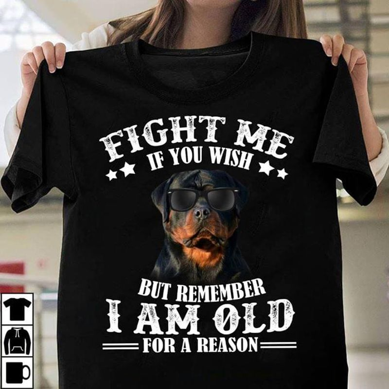 Bulldog Wear Sunglasses Fight Me If You Wish But Remember I Am Old For A Reason Black T Shirt Men And Women S-6XL Cotton