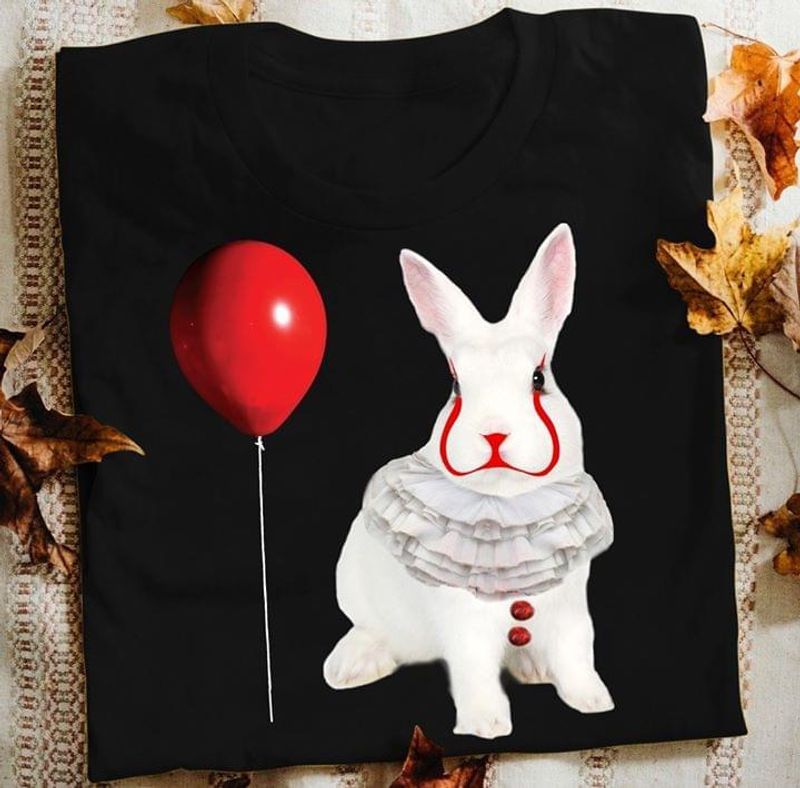 Bunny It Face Pennywise Rabbit Funny Halloween Shirt For Rabbit Lovers Black T Shirt Men And Women S-6XL Cotton