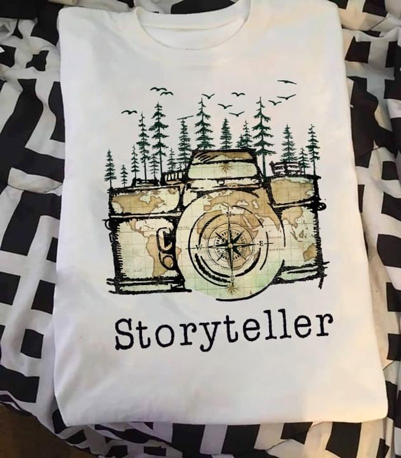 Camera Global Map Pine Forest And Birds Storyteller Love Travelling White T Shirt Men And Women S-6XL Cotton
