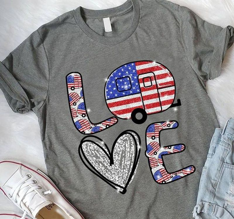 Camping American Flag Independence Day 4th Of July T Shirt S-6XL Men And Women Clothing