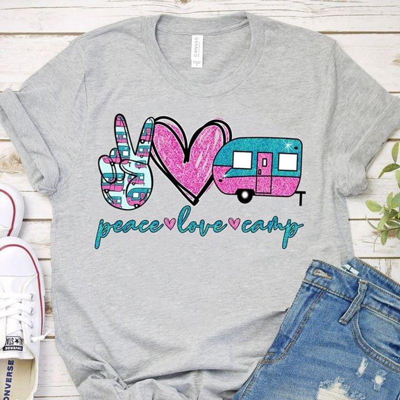 Camping Peace Love Camp Hi Hand Heart Bus Van Simple Grey  T Shirt Men/ Woman S-6XL Cotton