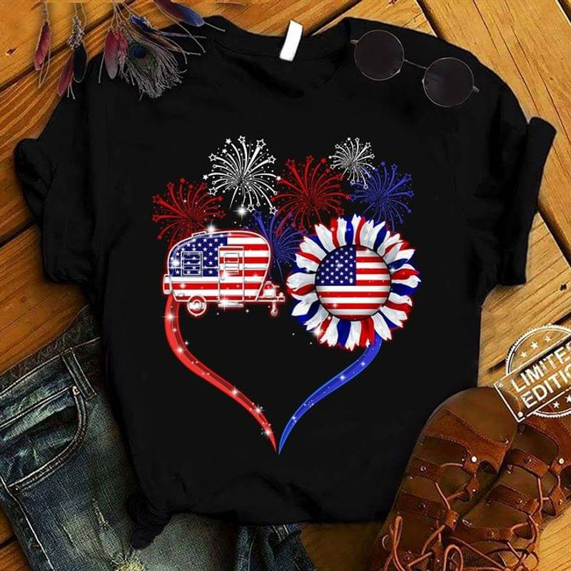 Camping Sunflower American Flag Fireworks Independence Day 4th Of July T Shirt S-6XL Men And Women Clothing