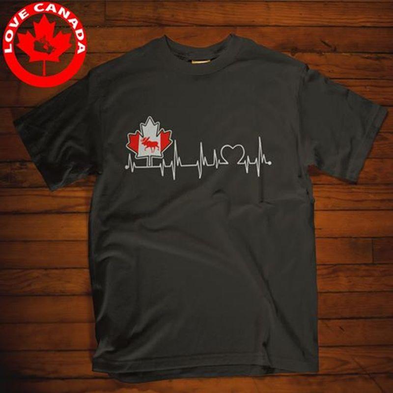 Canada Heartbeat  T Shirt Black A8