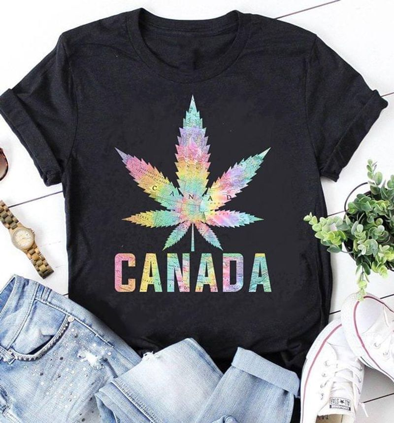 Canada Map Leaf Perfect Gift For Canada Lover Black T Shirt Men And Women S-6XL Cotton