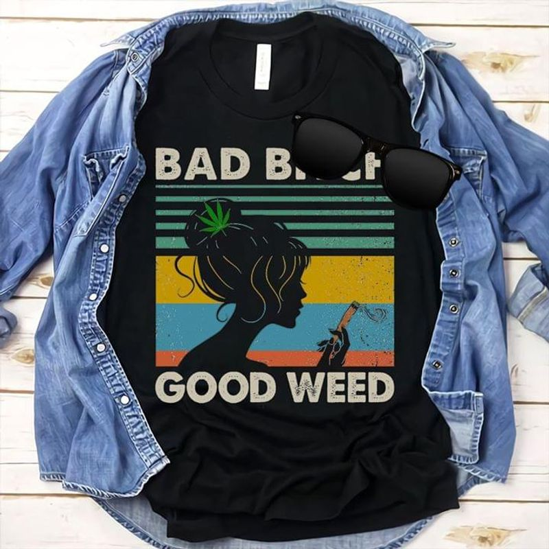 Cannabis Girl Bad Girl Good Cannabis Vintage Retro Style Black T Shirt Men/ Woman S-6XL Cotton