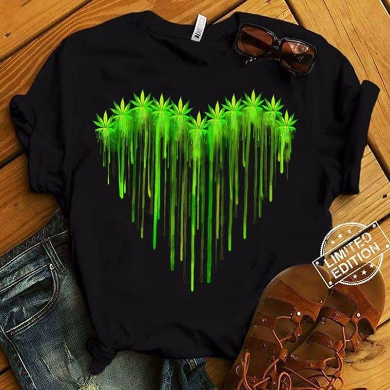 Cannabis Love 420 Culture Heart Marijuana Love BlackT Shirt Men/ Woman S-6XL Cotton