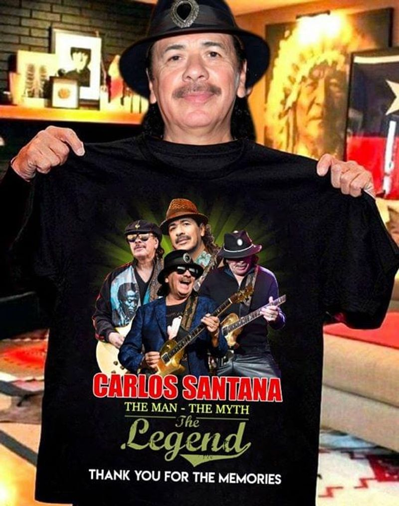 Carlos Santana Lovers The Man The Myth The Legend Thank You For The Memories Black T Shirt Men/ Woman S-6XL Cotton