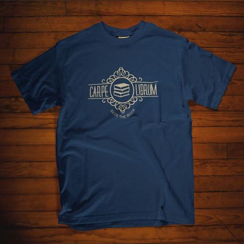 Carpe Book Librum  T-shirt Blue A5
