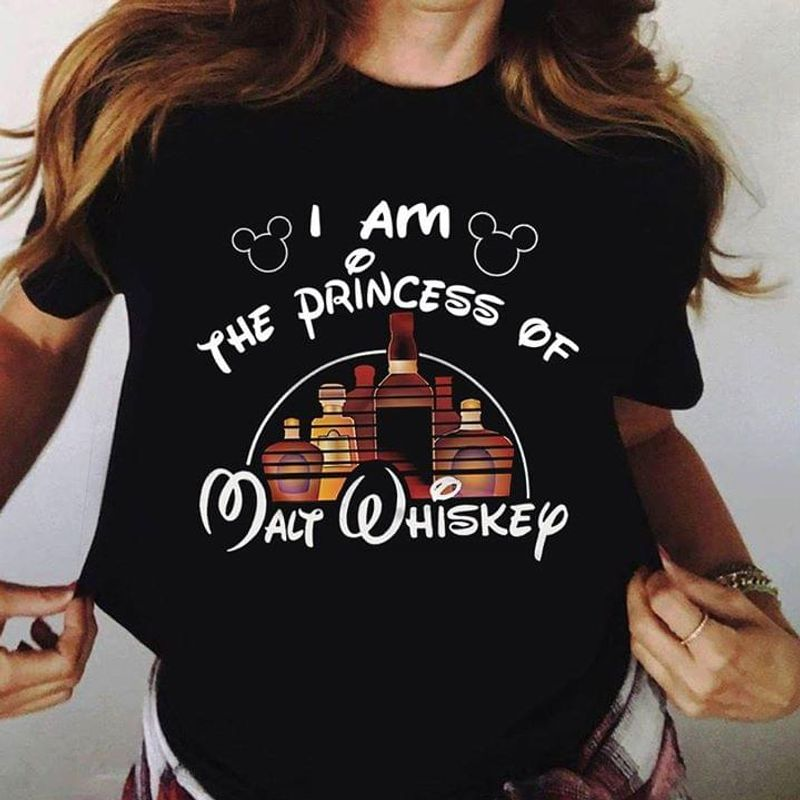 Castle Whiskey I Am The Princess Of Walt Whiskey Gift For Whiskey Lover Black T Shirt Men/ Woman S-6XL Cotton