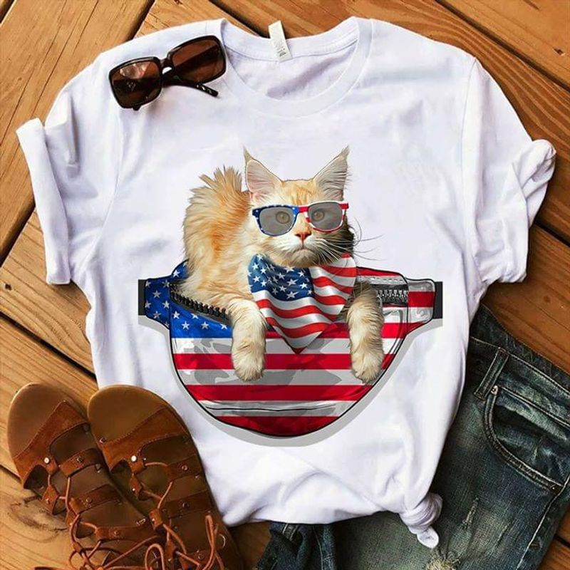 Cat And USA Flag Independence Day 4th Of July White T Shirt Men/ Woman S-6XL Cotton