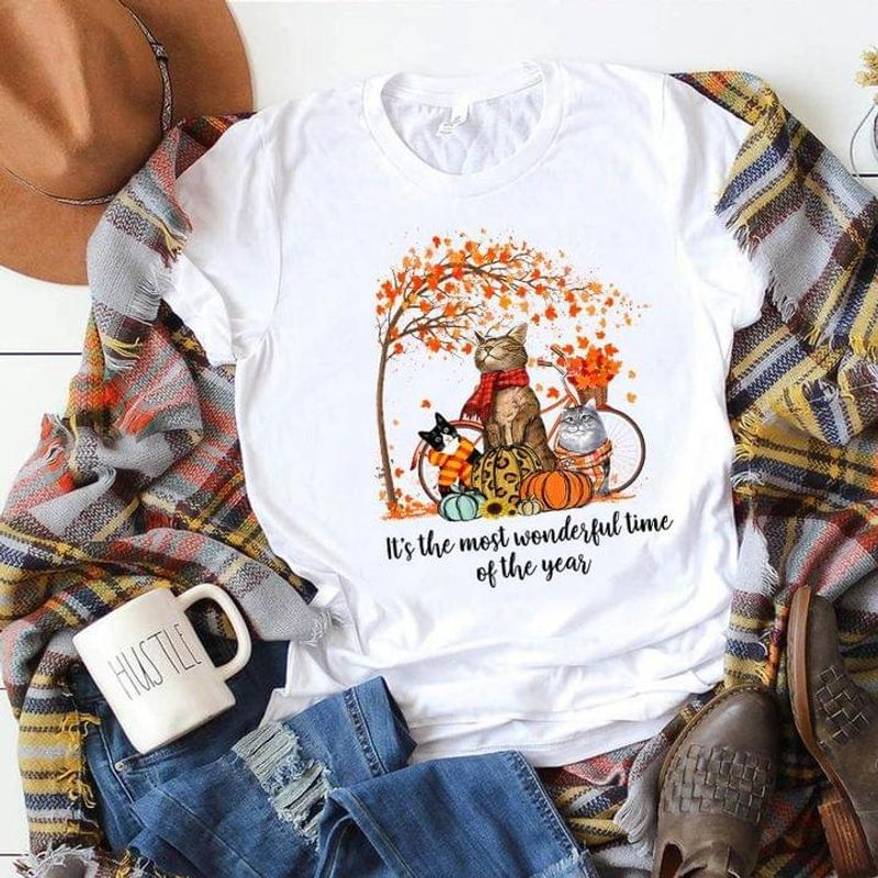 Cat Autumn It's The Most Wonderful Time Of The Year Halloween Gift Idea White T Shirt Men And Women S-6XL Cotton