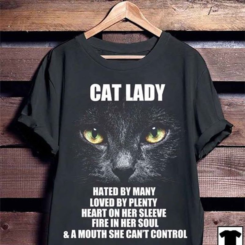 Cat Lady Hated By Many Loved By Plenty Heart On Her Sleeve Fire In Her Soul A Mouth She Cnat Control  T-shirt Black B1