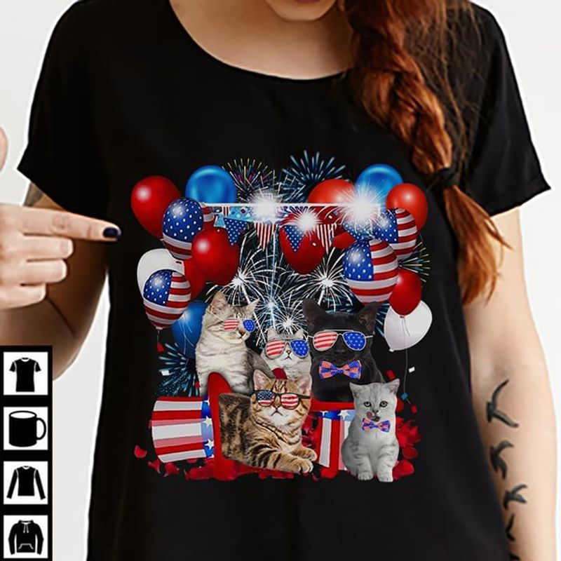 Cat Lover Independence Day 4th Of July Black T Shirt Men/ Woman S-6XL Cotton