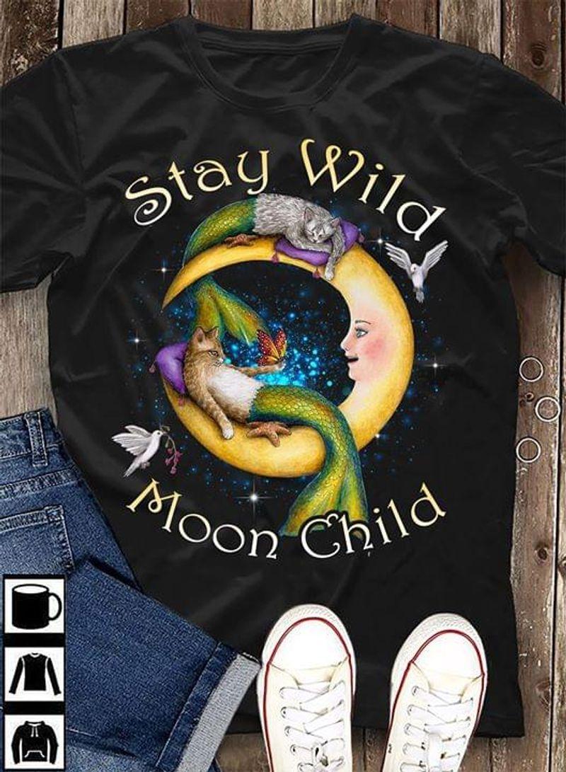 Cat Mermaid Stay Wild Moon Child T-Shirt Funny Cat Half Moon Shirt For Halloween Black T Shirt Men And Women S-6XL Cotton