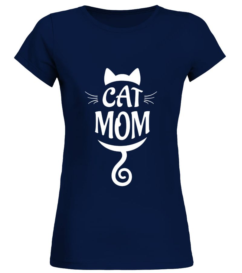 Cat Mom T Shirt Navy A8