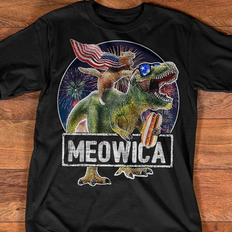 Cat T Rex Dinosaur Meowica 4th Of July Independence Day T Shirt S-6XL Mens And Women Clothing