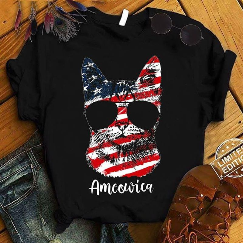Cats America American Flag Independence Day The Fourth Of July Black T Shirt Men And Women S-6XL Cotton