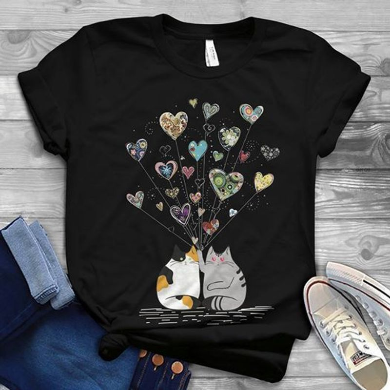 Cats And Hearts Flying T Shirt Black