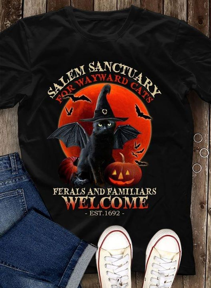 Cats Lovers Tee Halloween Black Cat Witch Salem Sanctuary Black T Shirt Men And Women S-6XL Cotton