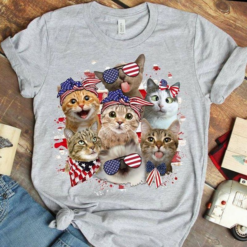 Cats Wear Ribbons Glasses Scarf Us Flag 4Th Of July Independence Day Sport Grey T  T Shirt Men/ Woman S-6XL Cotton Men/ Woman S-6XL Cotton