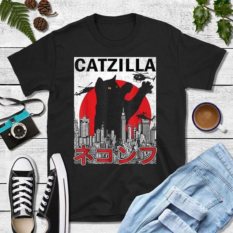 Catzilla City Attack Black Cat Gift For Cat Lover Black T Shirt Men/ Woman S-6XL Cotton