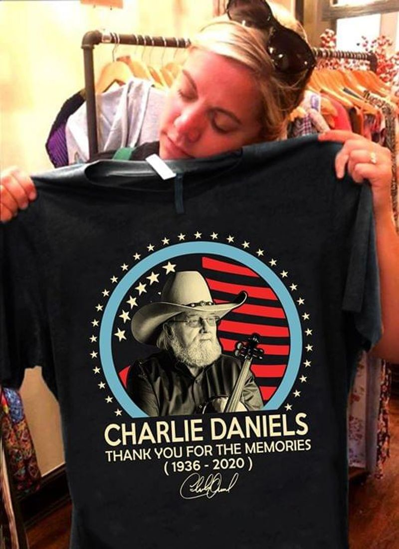 Charlie Daniels 1936 2020 Signature Thank You For The Memories Fans Gift Black T Shirt Men And Women S-6XL Cotton