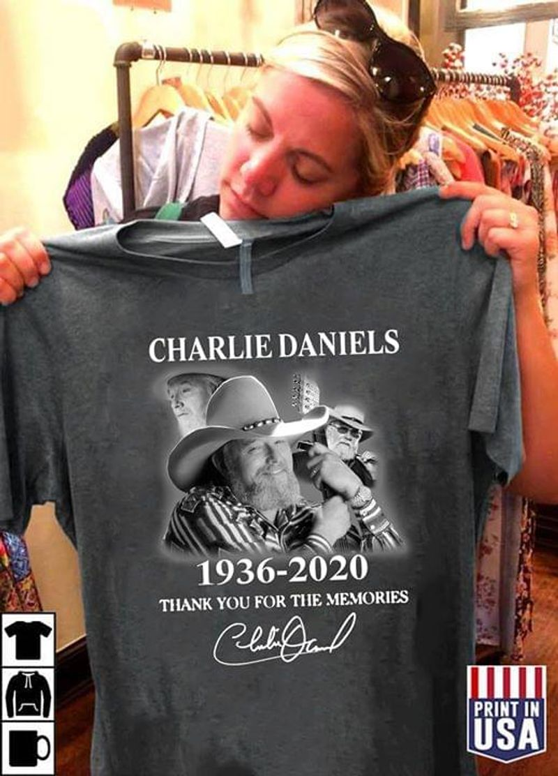 Charlie Daniels 1936 2020 Thank You For The Memories Guitar Lover Dark Heather T Shirt Men And Women S-6XL Cotton