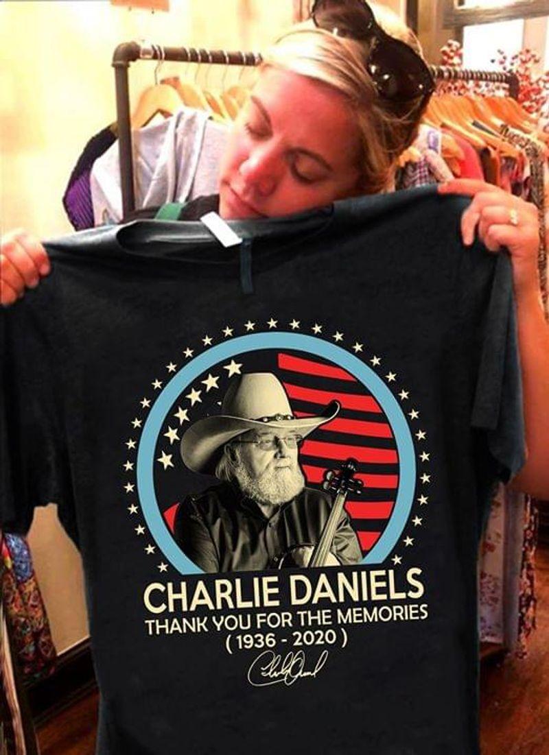 Charlie Daniels 1936 2020 Thank You For The Memories Respect Vintage Black T Shirt Men And Women S-6XL Cotton