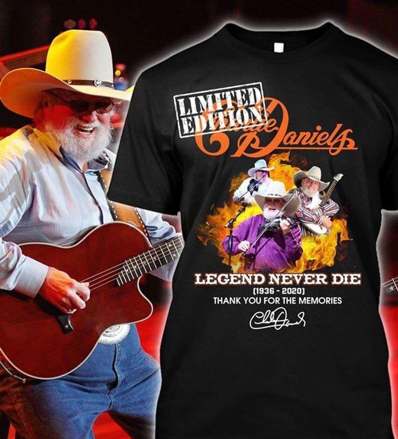 Charlie Daniels Fans Legend Never Die Thank You For The Memories Signature Black T Shirt Men And Women S-6XL Cotton