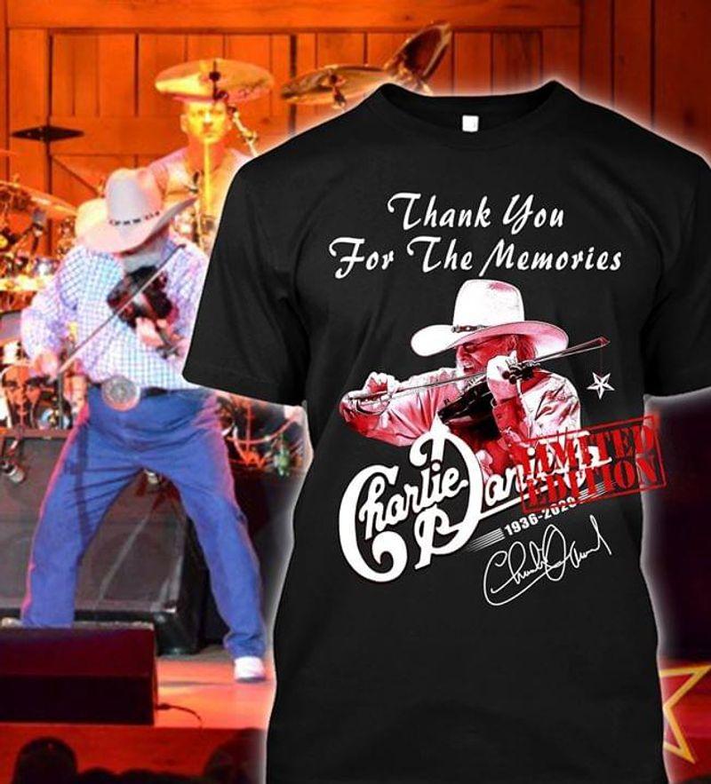 Charlie Daniels Fans Thank You For The Memories Signature Black T Shirt Men And Women S-6XL Cotton