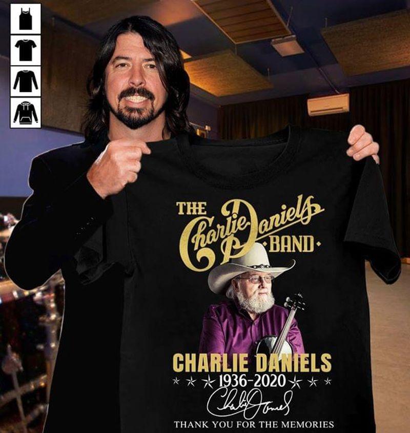 Charlie Daniels Legend 1936-2020 Thank You For Memories Rock Guitars Black T Shirt Men And Women S-6XL Cotton