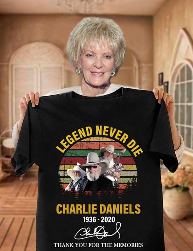 Charlie Daniels Legend Never Die Vintage 1936- 2020 Signature Thank You For The Memories Black T Shirt Men And Women S-6xl Cotton