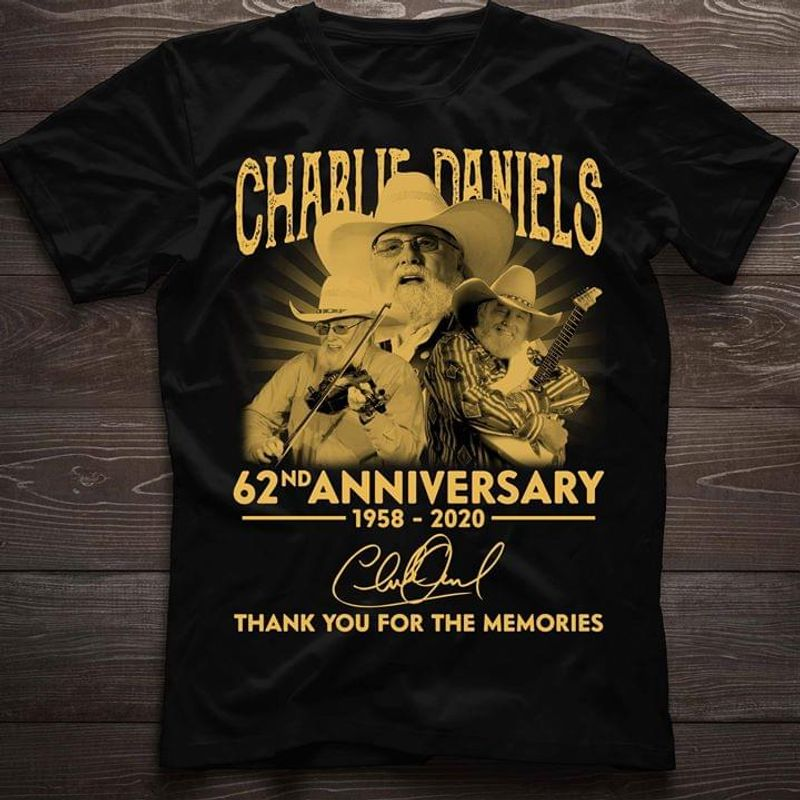 Charlie Daniels Rock Guitars 62Nd Anniversary 1958-2020 Thanks Memories Black T Shirt Men And Women S-6XL Cotton