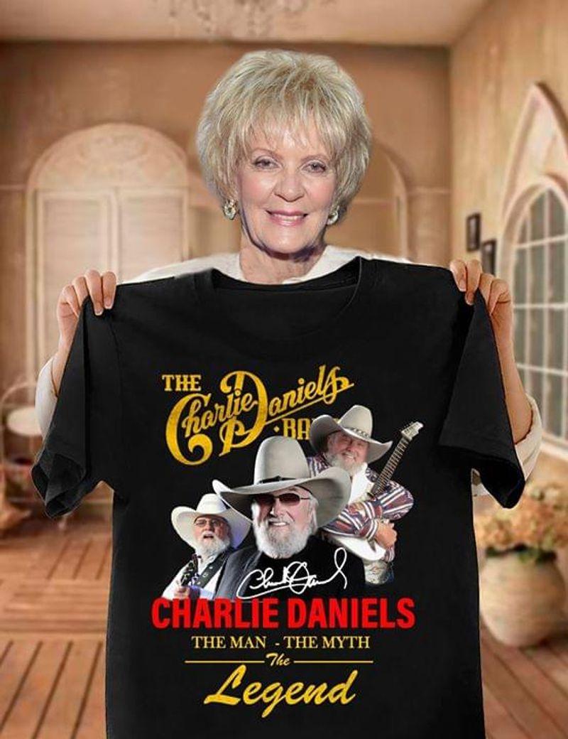 Charlie Daniels The Man The Myth The Legend Signature Fans Gift Black T Shirt Men And Women S-6xl Cotton