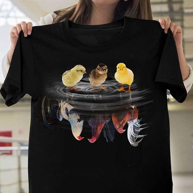 Chicken And Cock In Water Children And Adult Gift For Animal Lovers Black T Shirt Men And Women S-6XL Cotton