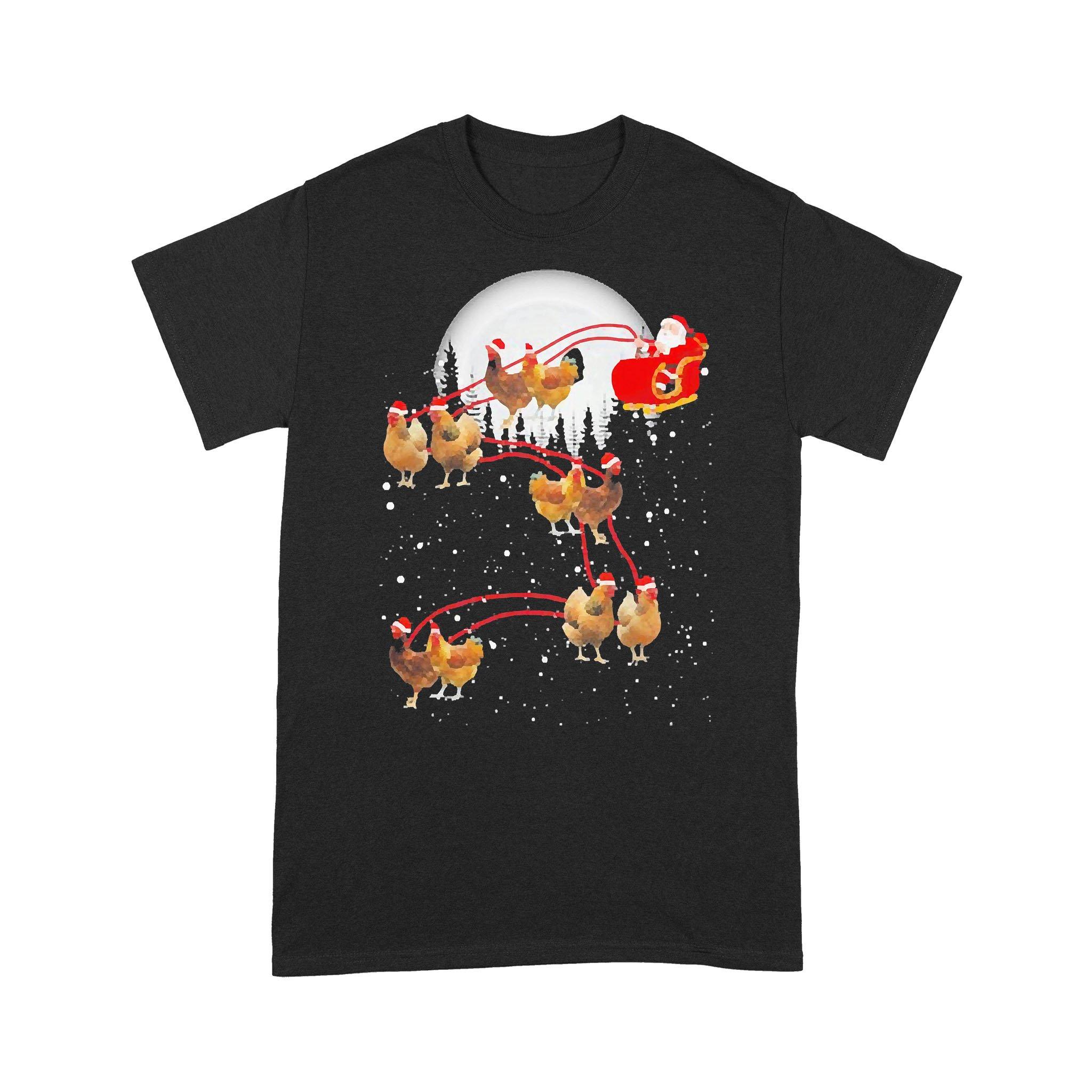 Chicken With Santa Claus Xmas T-shirt