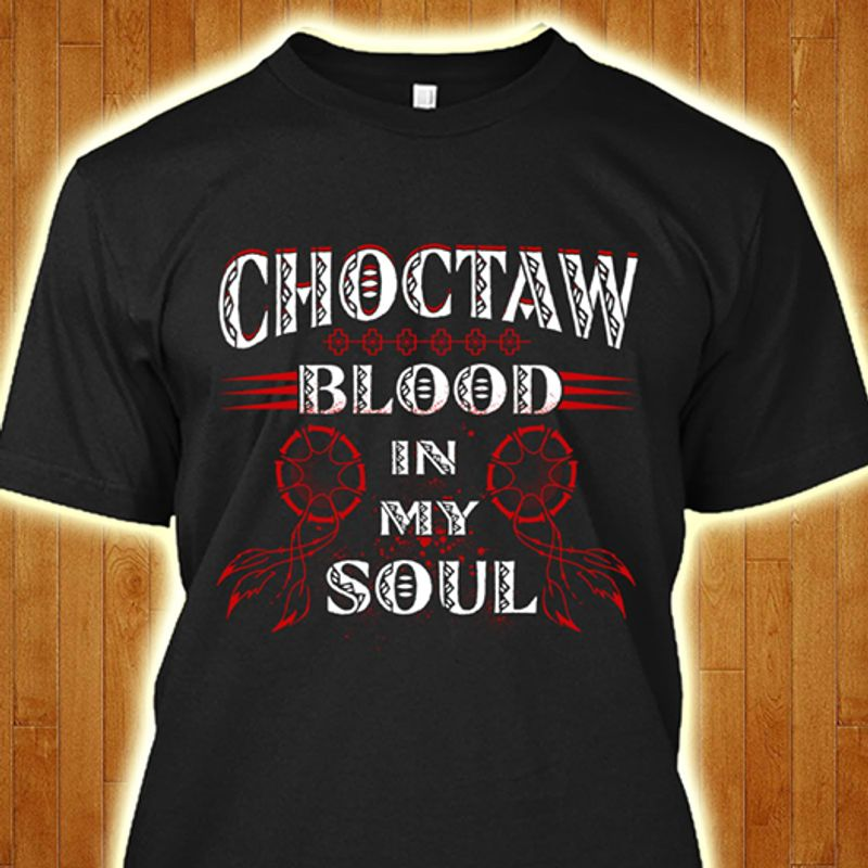 Choctaw Blood In My Soul Dream Catcher Floral T-shirt Black A5