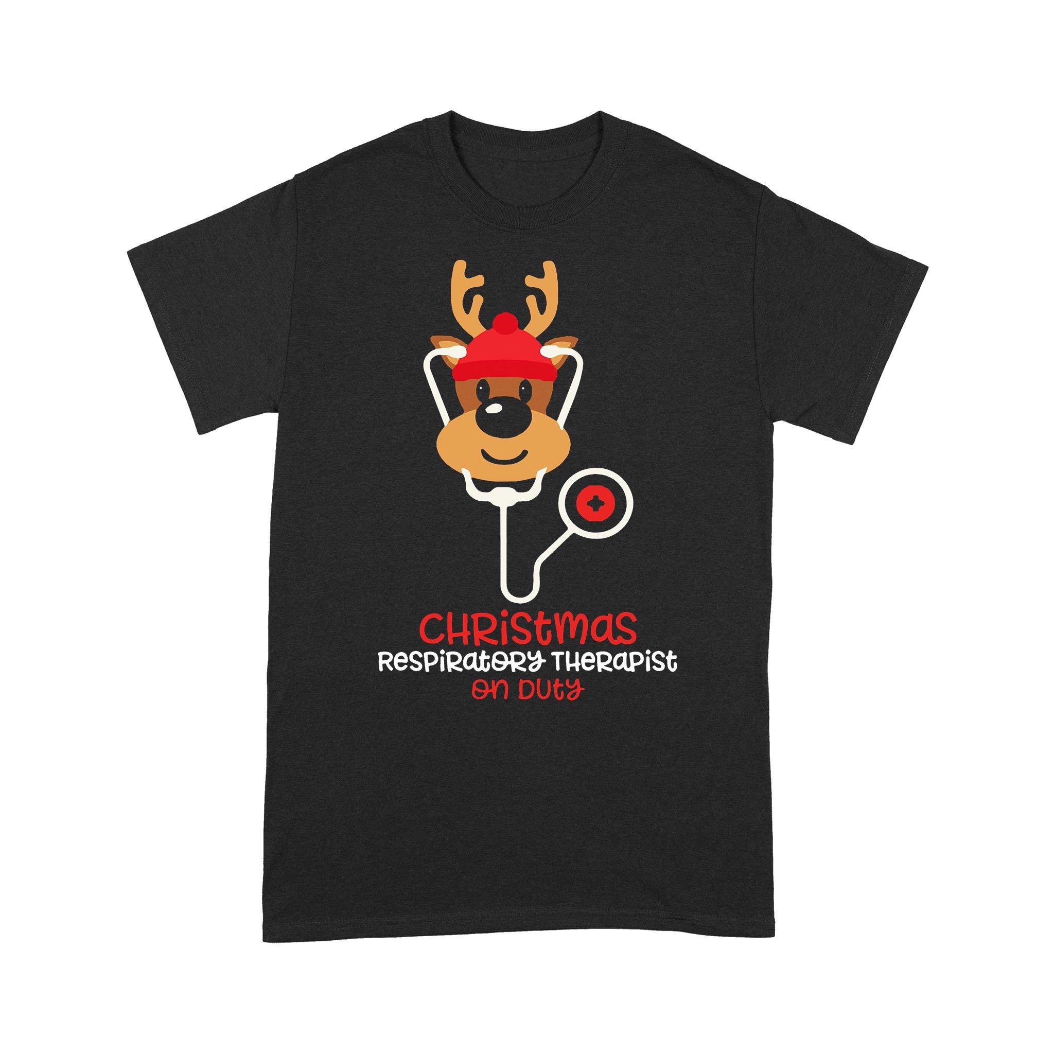 Christmas Respiratory Therapist Reindeer Nurse On Duty T-shirt