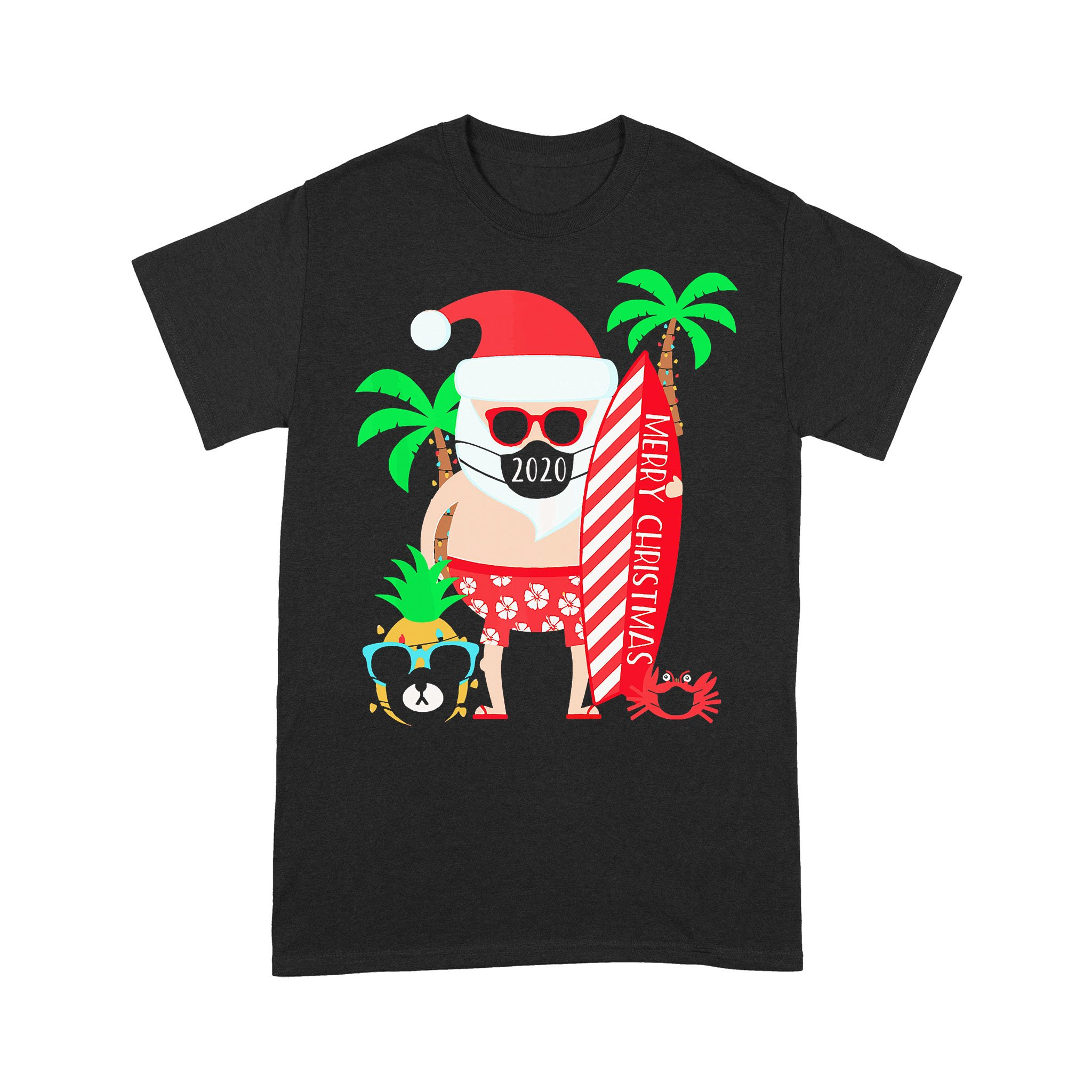 Christmas Surfing Santa Face Mask T-shirt