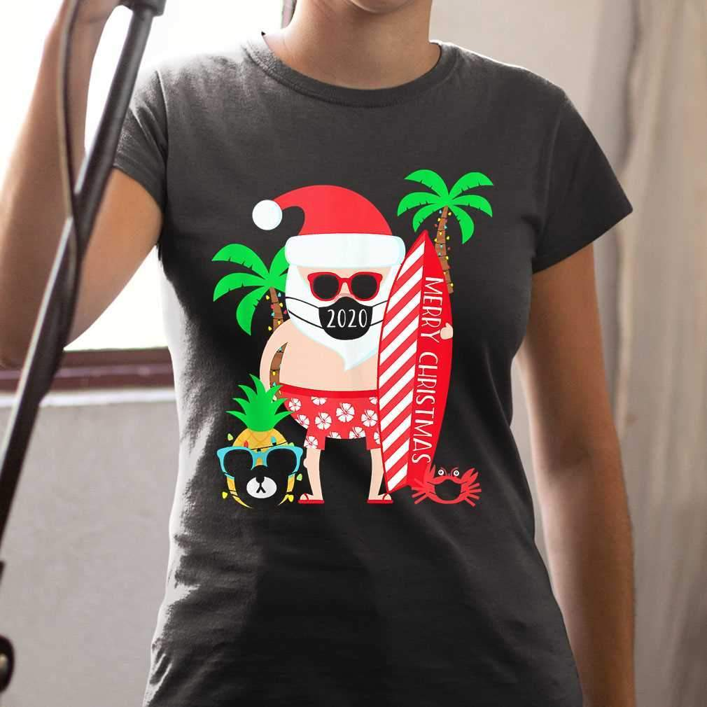 Christmas Surfing Santa With Mask T-shirt