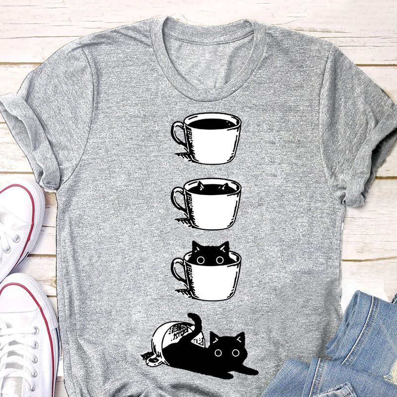 Coffee Black Cat Gray Shirt A1