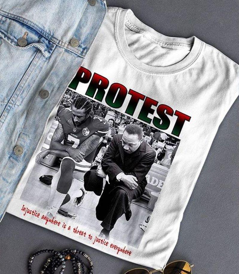 Colin Kaepernick Kneels During National White T Shirt Men/ Woman S-6XL Cotton