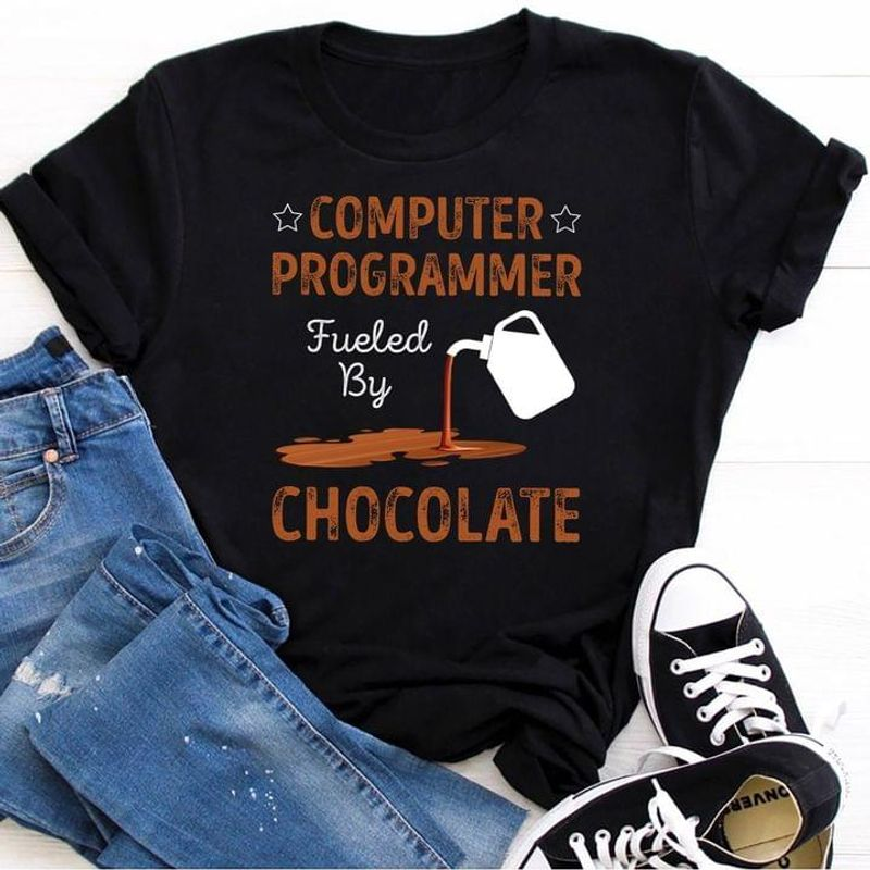 Computer Programmer Fueled By Chocolate T-shirt Computer Science Humor Black T Shirt Men And Women S-6XL Cotton