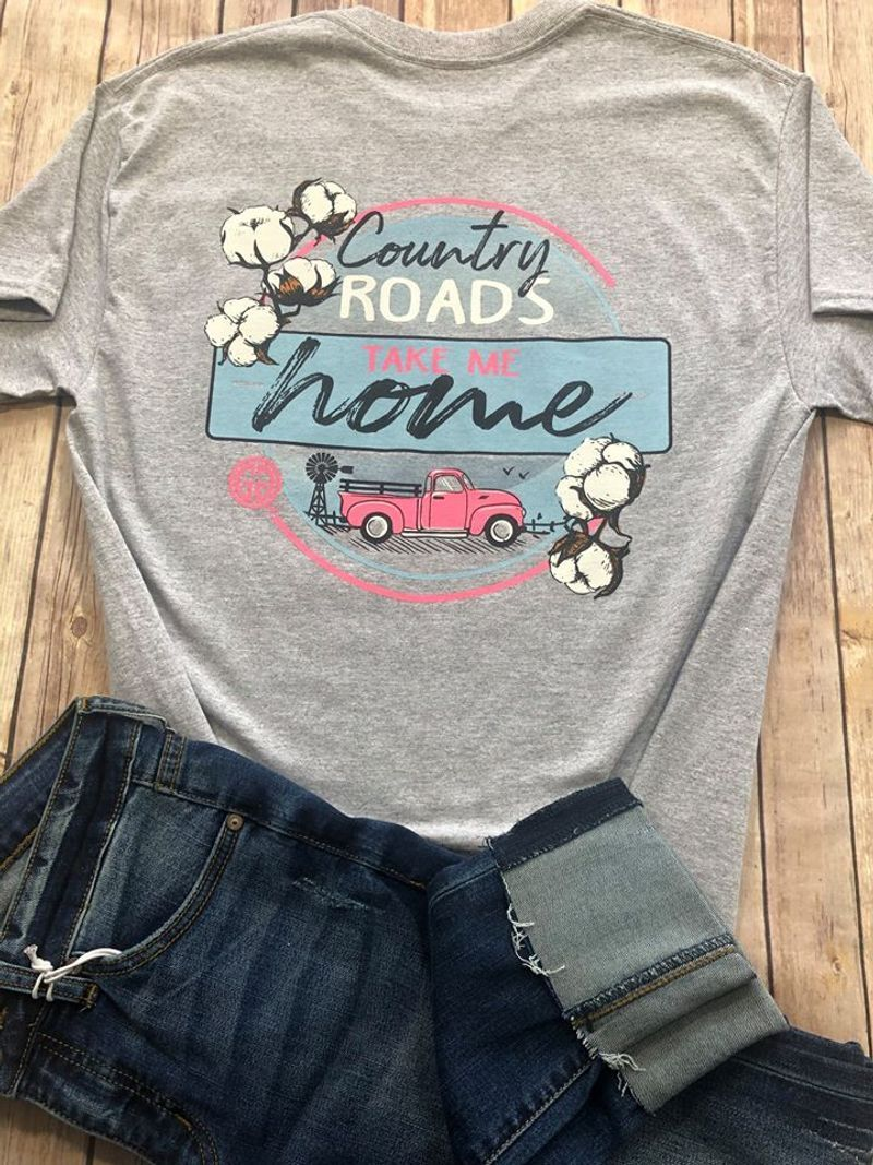 Country Road Take Me Home Red Truck And Windmill Edition T Shirt Grey