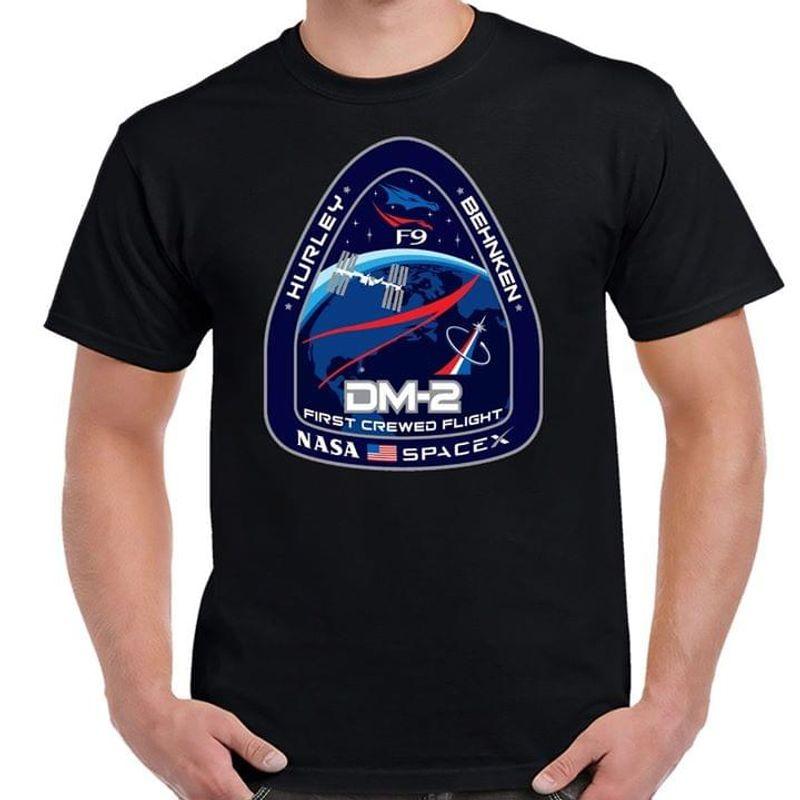 Crew Dragon Demo-2 Black T Shirt Men/ Woman S-6XL Cotton